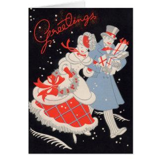 Cartão Compra do Natal do casal do Victorian do vintage