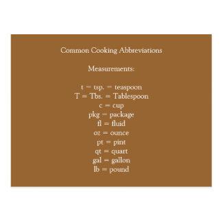 Cartão comum das abreviaturas do cozinhar