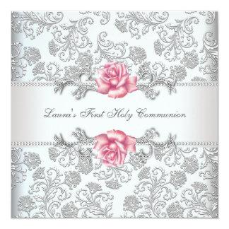 Cartão Comunhão das meninas do rosa do rosa do damasco