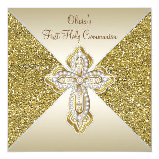 Cartão Comunhão do brilho do ouro primeiro
