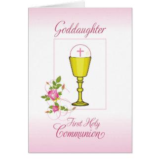 Cartão Comunhão santamente do rosa do Goddaughter