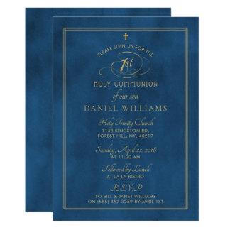 Cartão Comunhão santamente elegante do roteiro dos azuis