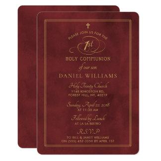 Cartão Comunhão santamente elegante vermelho escuro & do