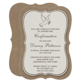 Cartão Comunhão santamente ou confirmação da pomba