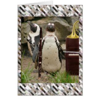 Cartão Concerto, ventos e piano do pinguim