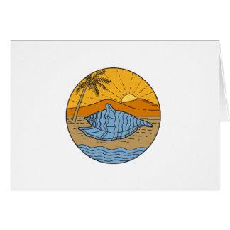 Cartão Conch Shell na árvore de coco segunda-feira de Sun