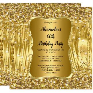 Cartão Confetes do brilho do ouro da bolsa mensageifesta