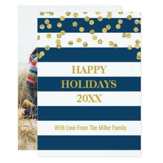 Cartão Confetes do ouro das listras de azuis marinhos
