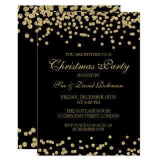 Cartão Confetes elegantes Blac do brilho do ouro da festa