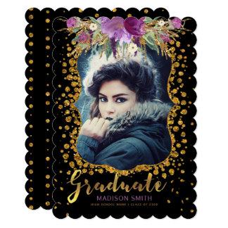 Cartão Confetes florais do brilho do ouro do falso da