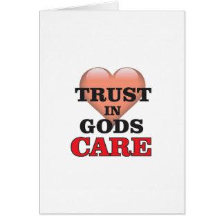 Cartão confiança no coração do cuidado dos deuses