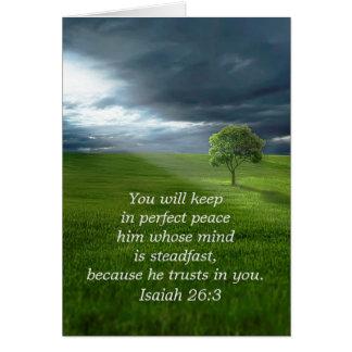 Cartão Confiança solitária da árvore no senhor Praying
