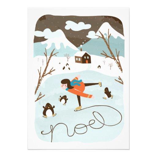 Cartão congelado do feriado da Não-Foto do lago Convite Personalizados