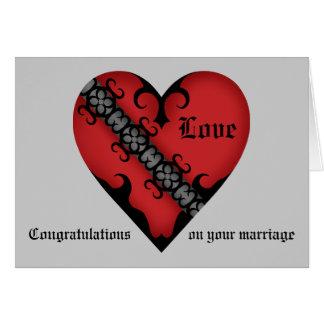Cartão Congrats medievais góticos românticos do casamento