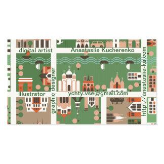 cartão conhecido de mapa dos desenhos animados cartões de visitas