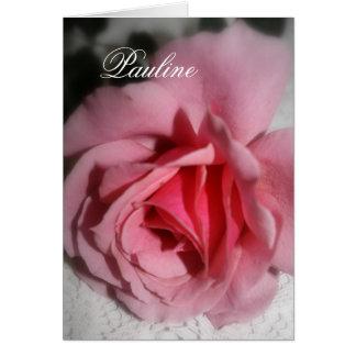Cartão conhecido de Pauline do rosa do rosa