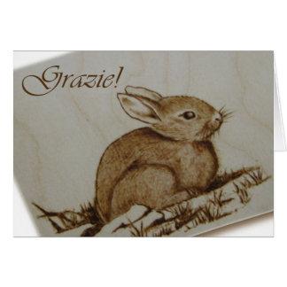 Cartão Coniglietto - Grazie! - Pirografia