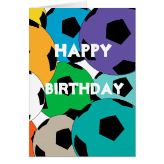 Cartão conjunto de bolas de futebol, feliz aniversario