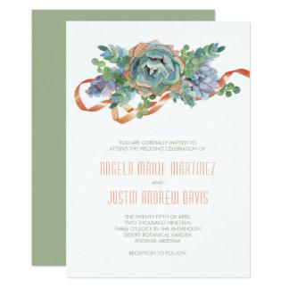 Cartão Conjunto do Succulent da aguarela que Wedding 2