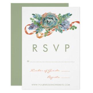 Cartão Conjunto do Succulent da aguarela que Wedding RSVP