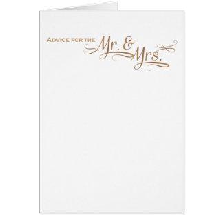Cartão Conselho do casamento para o Sr. e a Sra. pia
