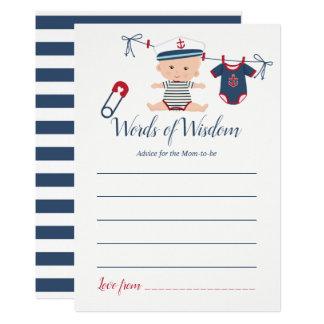 Cartão Conselho náutico do bebê do menino para o chá de