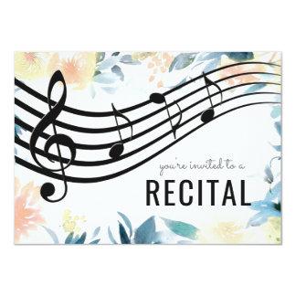 Cartão considerando feminino floral da música