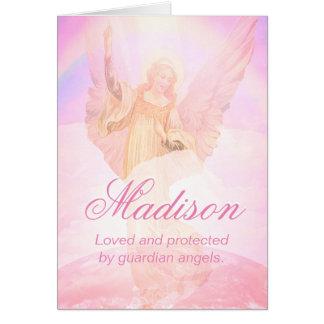 Cartão Consolando o anjo-da-guarda cor-de-rosa feito sob