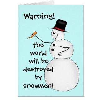 Cartão Conspiração engraçada do boneco de neve do Natal