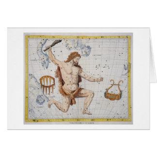Cartão Constelação de Hercules com corona e Lyra, pl