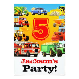 Cartão Construção do aniversário dos meninos a 5a