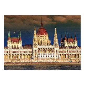 Cartão Construção húngara do parlamento em Budapest,