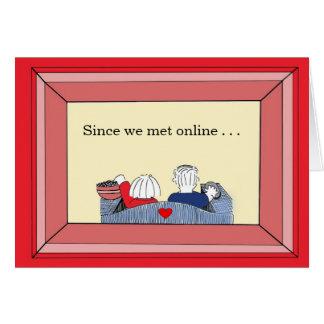 Cartão Contente nós encontramos (em linha) - namorados