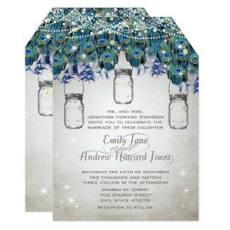 Cartão Conto de fadas sob o pavão do frasco de pedreiro