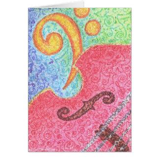 Cartão - contrabaixo e Clef coloridos