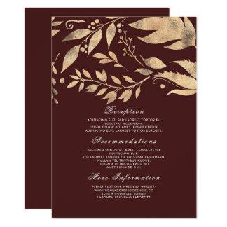 Cartão Convidado da informação do casamento outono de