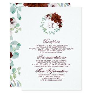 Cartão Convidado floral da informação do casamento da