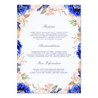 Cartão Convidado floral da informação do marinho e do