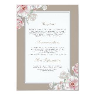 Cartão Convidado floral do rosa e o branco do casamento