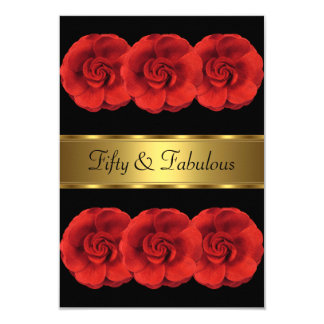 Cartão Convide o 50th fabuloso do ouro preto das flores