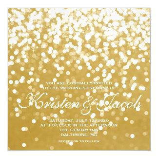 Cartão Convide - o ouro Sparkling do casamento