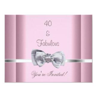 Cartão Convide rosa fabuloso da imagem do arco da prata