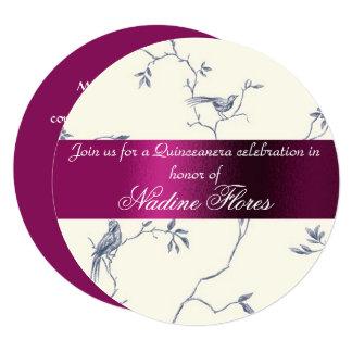 Cartão Convite, Borgonha e marfim de Quinceanera