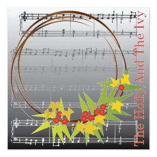 Cartão/convite do azevinho das canções de natal do