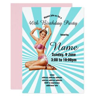 Cartão convite, festa de aniversário, menina do pinup do