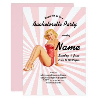 Cartão convite, festa de solteira, menina do pinup do