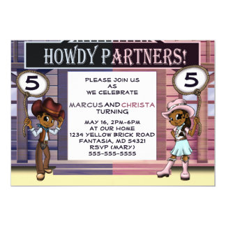 """Cartão """"Convite gêmeo"""" 7"""" do aniversário do vaqueiro & da"""