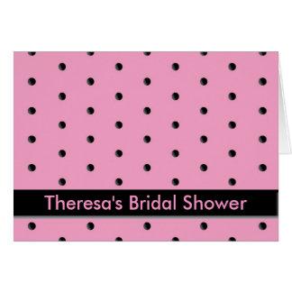 Cartão Convite: Pontos cor-de-rosa e pretos