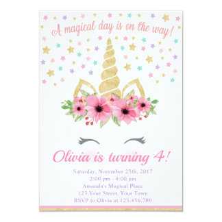 Cartão Convite, rosa e ouro do aniversário do unicórnio
