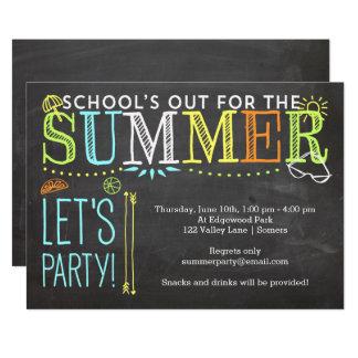 Cartão Convite-School do partido do verão para fora